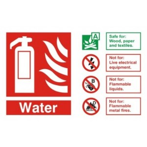 Fire Extinguisher Water ID Sign (150mm x 200mm) Photoluminescent