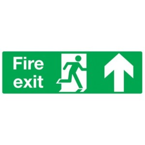 Up Fire Exit Sign (300mm x 100mm) Photoluminescent