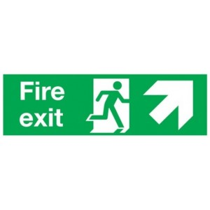 Up Right Fire Exit Sign (450mm x 150mm) Photoluminescent