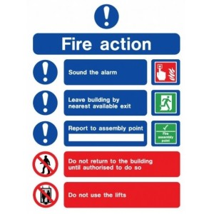 EC Fire Action Sign (150mm x 200mm) Photoluminescent