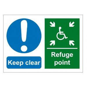 Baldwin Boxall Self-adhesive Vinyl Keep Clear Refuge Point Sign BVOCLAB3