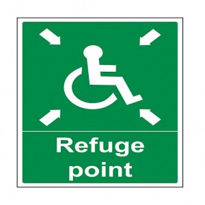 Baldwin Boxall Self-adhesive Vinyl Small Refuge Point Sign BVOCLAB4