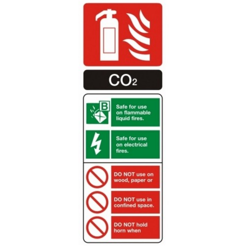Rigid Plastic 75mm x 200mm VSafety Glow In The Dark Co2 Id Fire Extinguisher Sign