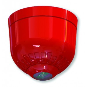 Klaxon Sonos Pulse Ceiling VAD Beacon, Shallow Base, Red Body, Red Flash - ESD-5008