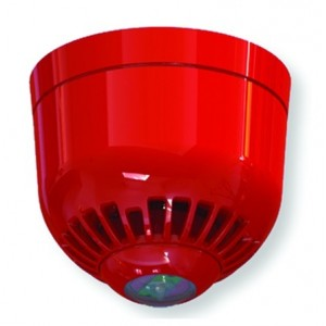 Klaxon Sonos Pulse Ceiling Sounder VAD Beacon, Shallow Base, Red Body, Red Flash - ESF-5008
