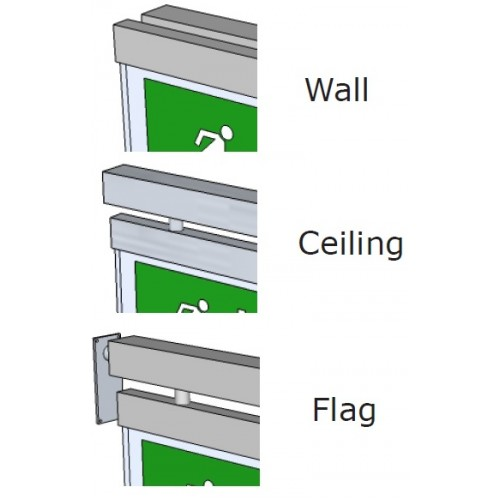 Wall Mounted Exit Lights : MPDB Maintained LED Decorative Brushed Chrome Exit Sign (Ceiling, Wall & Flag Mounted) IP20