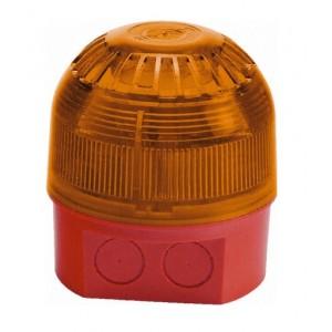 Klaxon Sonos LED Beacon, Deep Base, Red Body, Amber Lens 17-60v - PSB-0031 (18-980511)