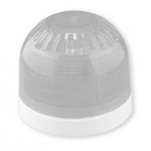 Klaxon Sonos LED Beacon, Shallow Base, White Body, Clear Lens, Red LED (17-60v)