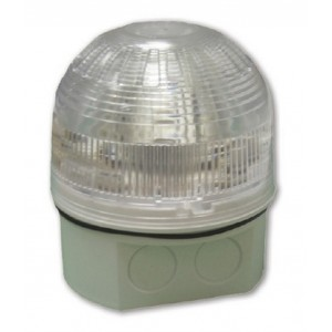 Klaxon Sonos LED Beacon, Deep Base, White Body, Clear Lens, Red LED (17-60v) (PSB-0045)