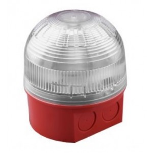 Klaxon Sonos LED Beacon, Deep Base, Red Body, Clear Lens, Red LED 17-60v - PSB-0077