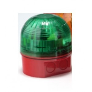 Klaxon Sonos 2J Xenon Beacon, Deep Base, Red Body, Green Lens 10-60v - PSB-0108