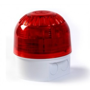 Klaxon PSB-0116 Sonos High Power 5J Xenon Beacon with Deep Base - White Body - Red Lens (10-60v)
