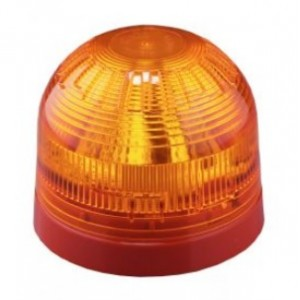 Klaxon Sonos LED Sounder Beacon, Shallow Base, Red Body, Amber Lens (17-60v)