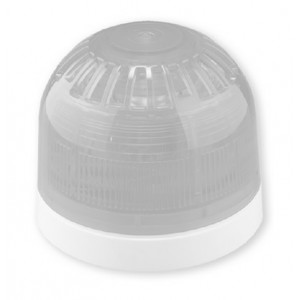 Klaxon Sonos Sounder Beacon, Shallow Base, White Body, Clear Lens 17-60v (LED with Link) (PSC-0052)