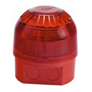Klaxon Sonos LED Sounder Beacon, Deep Base, Red Body, Red Lens (110/230v AC)