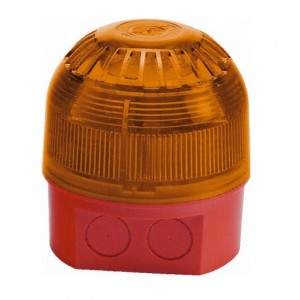 Klaxon Sonos LED Sounder Beacon, Deep Base, Red Body, Amber Lens (110/230v AC)