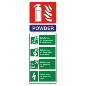 Fire Extinguisher Powder ID Sign (75mm x 200mm) Photoluminescent