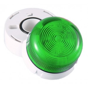 Klaxon Flashing LED Flashguard Beacon with Green Lens 230v AC - QBS-0031 (45-712851)
