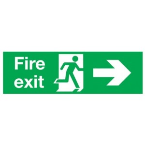 Right Fire Exit Sign (300mm x 100mm) Photoluminescent
