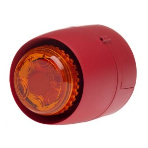 Cranford Controls VTB Spatial Sounder Beacon 24v 32 Tone Red Body Amber Lens Shallow Base (EN54-3)