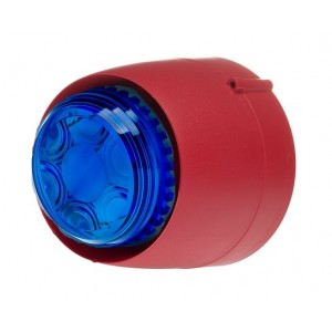 Cranford Controls VTB-32-SB-RB/BL Spatial Sounder Beacon 24v 32 Tone Red Body Blue Lens Shallow Base